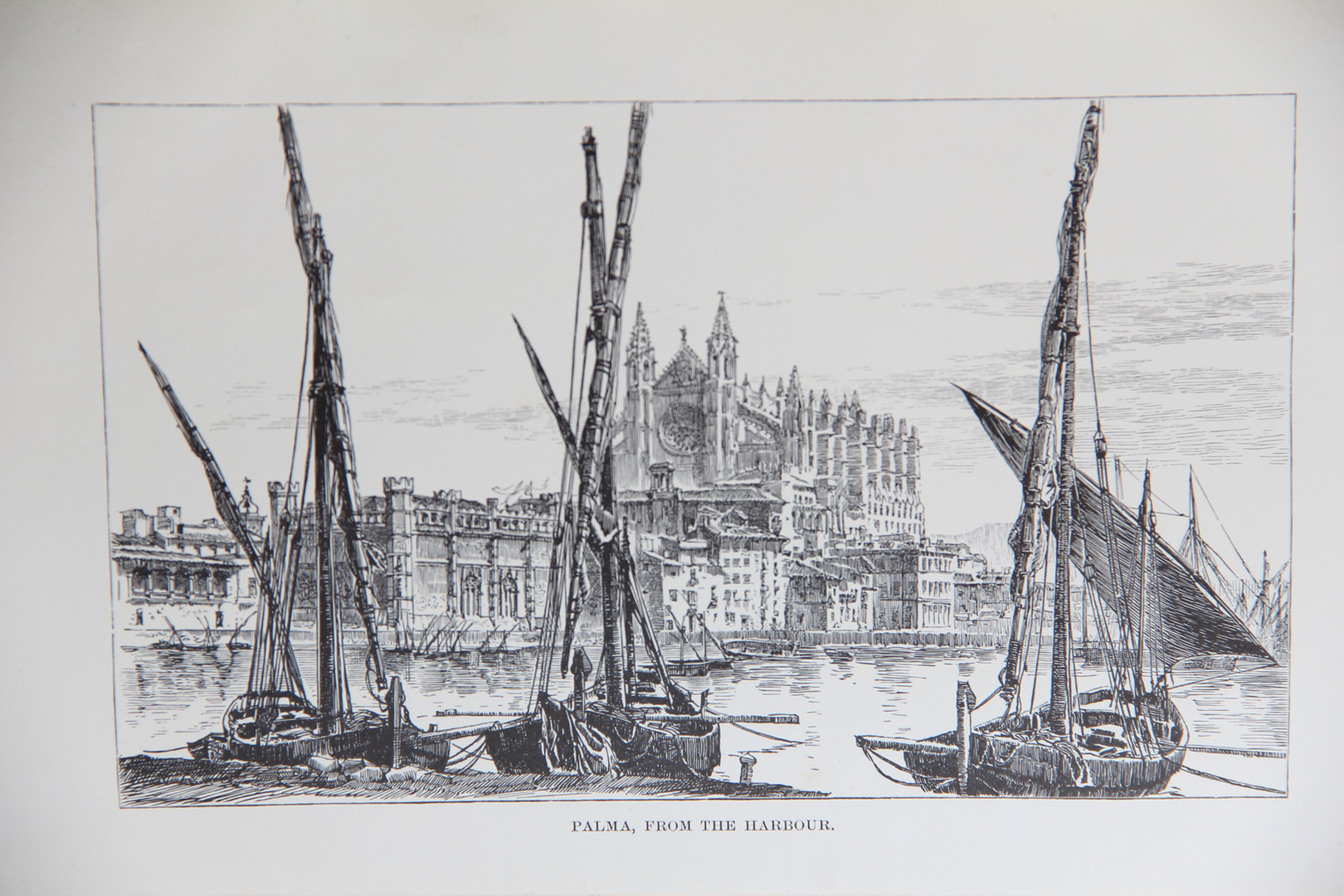 """Print of Palma from the Port according to CW Wood. Included in his book """"Letters from Majorca"""" (1888)."""