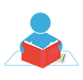 סימול של ילד מחזיק ספר. מייצג את ההרגל של לומד עצמאי.