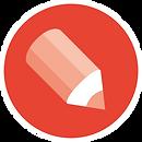 איור של סמליל כתוב לי. עיפרון בתוך עיגול אדום