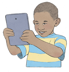 Illustration of a child holding a tablet