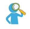Symbol of a child looking through a magnifying glass. Represents the cultivation of curiosity.