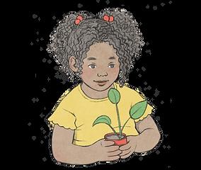 איור של ילדה מתולתלת עם קוקיות אוחזת עציץ ובתוכו שתיל עם שלוש עלים
