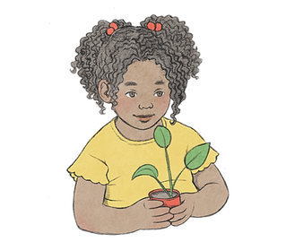 Illustration of a curly girl holding a flower pot with a seedling with three leaves inside