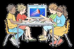איור של ילדים צעירים יושבים סביב שולחן גן וצופים במסך מחשב