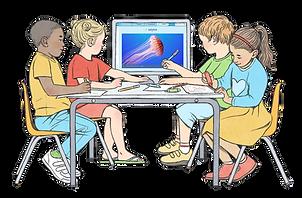 איור של ארבעה ילדים יושבים סביב שולחן בגן וצופים במסך מחשב המונח על השולחן ומציג סרטון של גוגלה על מדוזות.