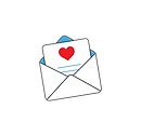 Illustration of an envelope with a letter inside with a heart. Represents the cultivation of social behavior, imparting customs such as sending greetings and various wishes.