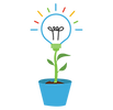 Symbol of a flowerpot and inside it grows an incandescent light bulb-like flower. Represents the cultivation of creativity