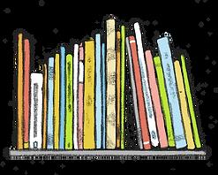 איור של מדף ועליו מונחים ספרים