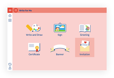 This is a screenshot of 'Write for me', ICT Sandbox's tool that allows children to experiment with writing and printing messages, invitations, greeting cards, posters, labels and short stories.