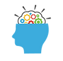 A symbol of a human head with cogs painted on its brain. Represents the development of thinking skills