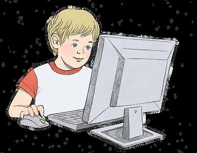 איור של ילד מול מסך ומקלדת ובידו עכבר מח