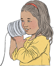 This is an image of a little girl wearing a yellow top holding a tin to her ear, imitating communication via a tin can and a rope