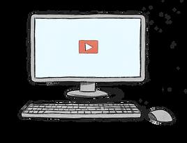 איור של מחשב עם מקלדת ועכבר . על המסך מוצג כפתור ניגון וידאו