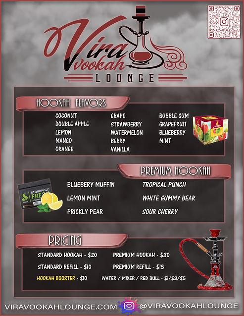 Hookah Menu - Vira Vookah Lounge