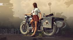 Girl with BMW Sidecar