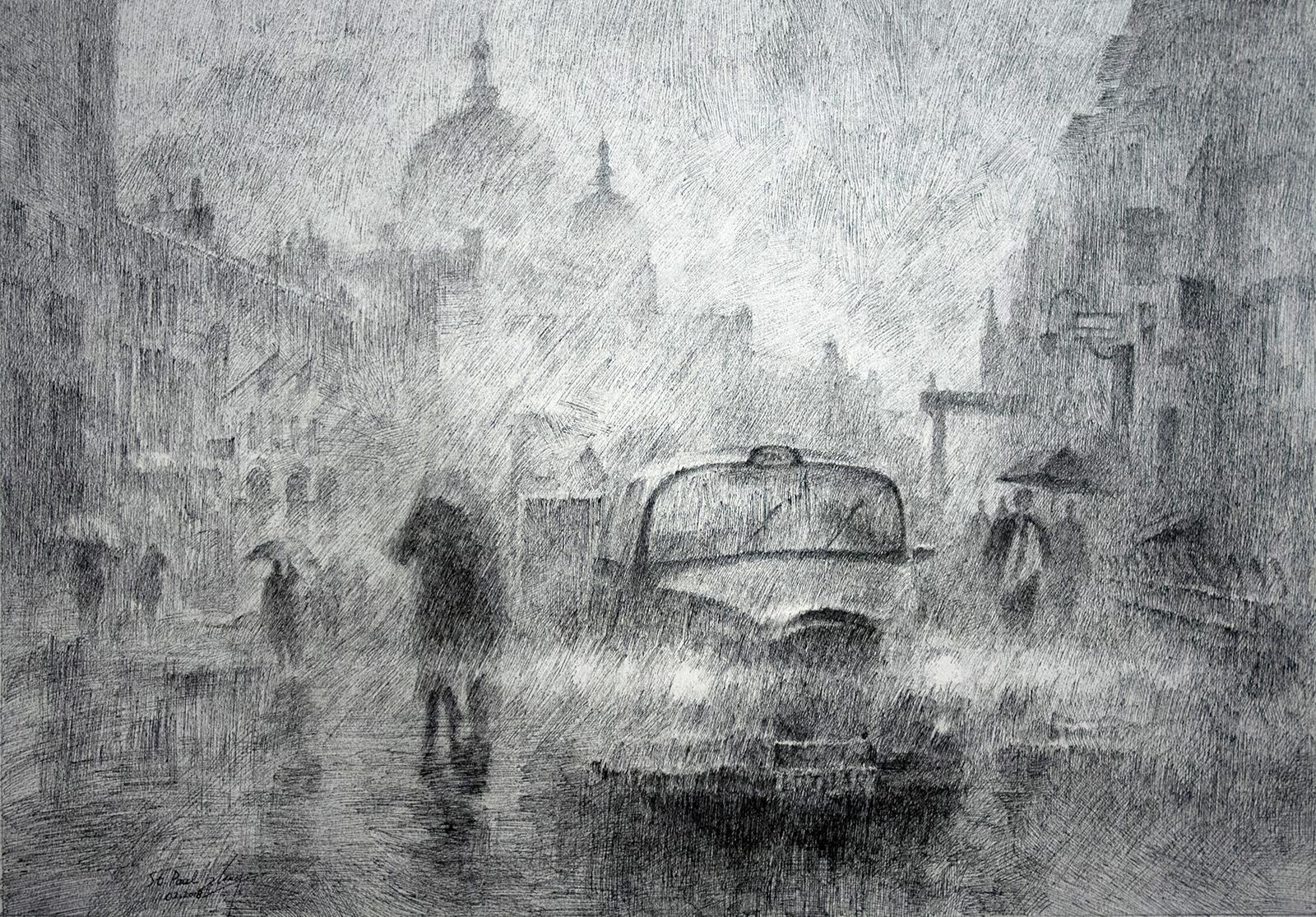 St Paul on a rainy day