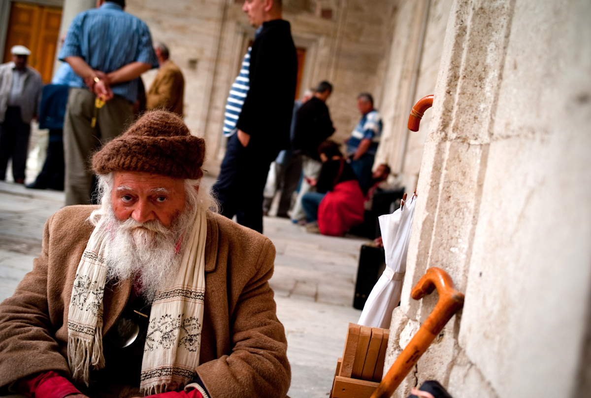 Old man in mosque