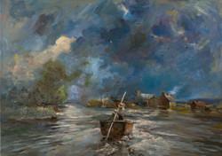 Dutch landscape in Storm