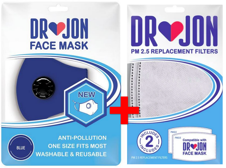 Dr Jon Face Mask 5 Layer Breathable and Washable - Bundles with PM 2.5 Filters