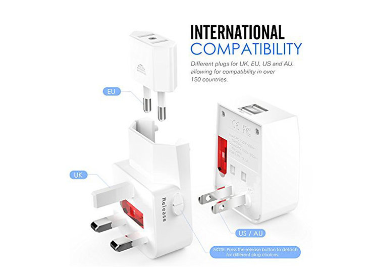 Universal AC Plug World Travel Converter Adapter with 2 USB Ports