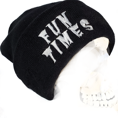 THE Skull Cap - Fun Times Apparel Premium Beanie / Black