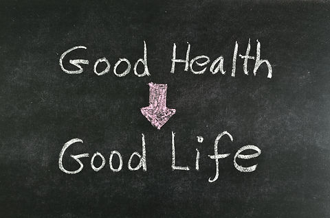 _good health and good life_ word written
