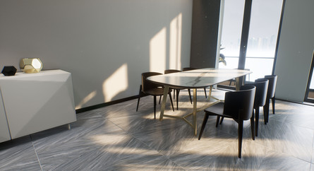 Table, chairs, and window of YourPlace, your customizable personal space on Planet Theta