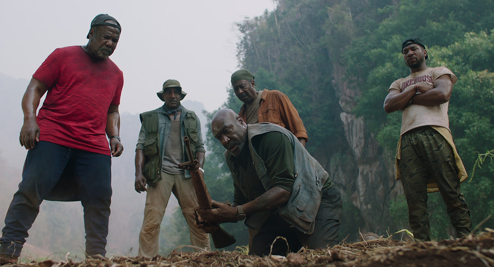 Isiah Whitlock Jr., Norm Lewis, Delroy Lindo, Clarke Peters and Jonathan Majors in Spike Lee's Da 5 Bloods