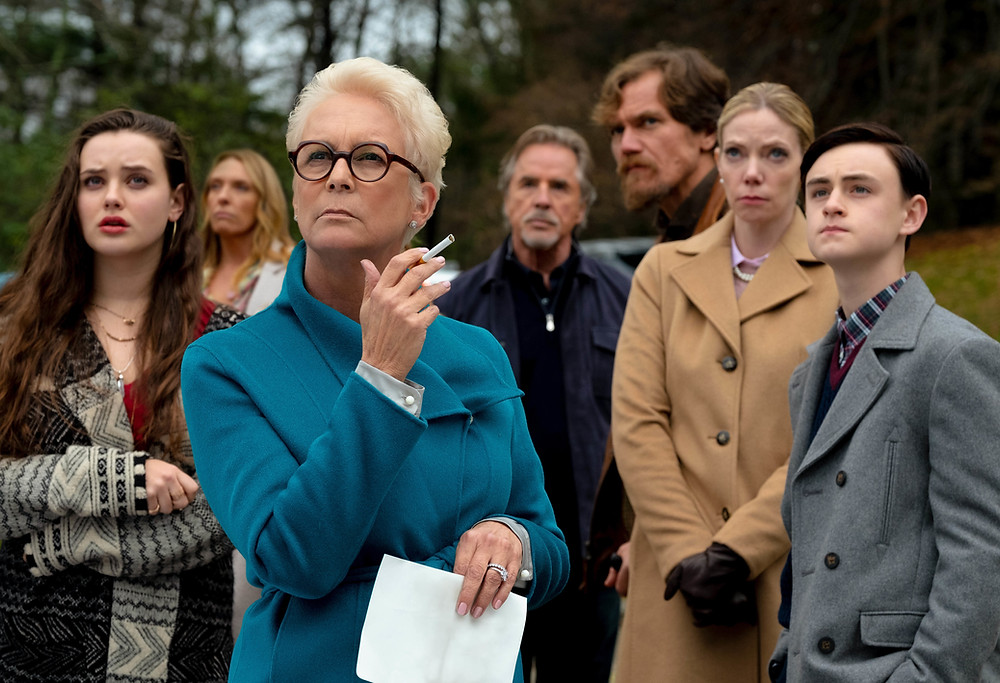 Katherine Langford, Toni Collette, Jamie Lee Curtis, Don Johnson, Michael Shannon, Riki Lindhome and Jaeden Martell in Rian Johnson's Knives Out