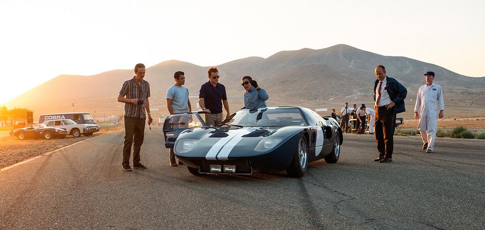 Ray McKinnon, Jack McMullen, Matt Damon and Christian Bale in James Mangold's Ford v Ferrari