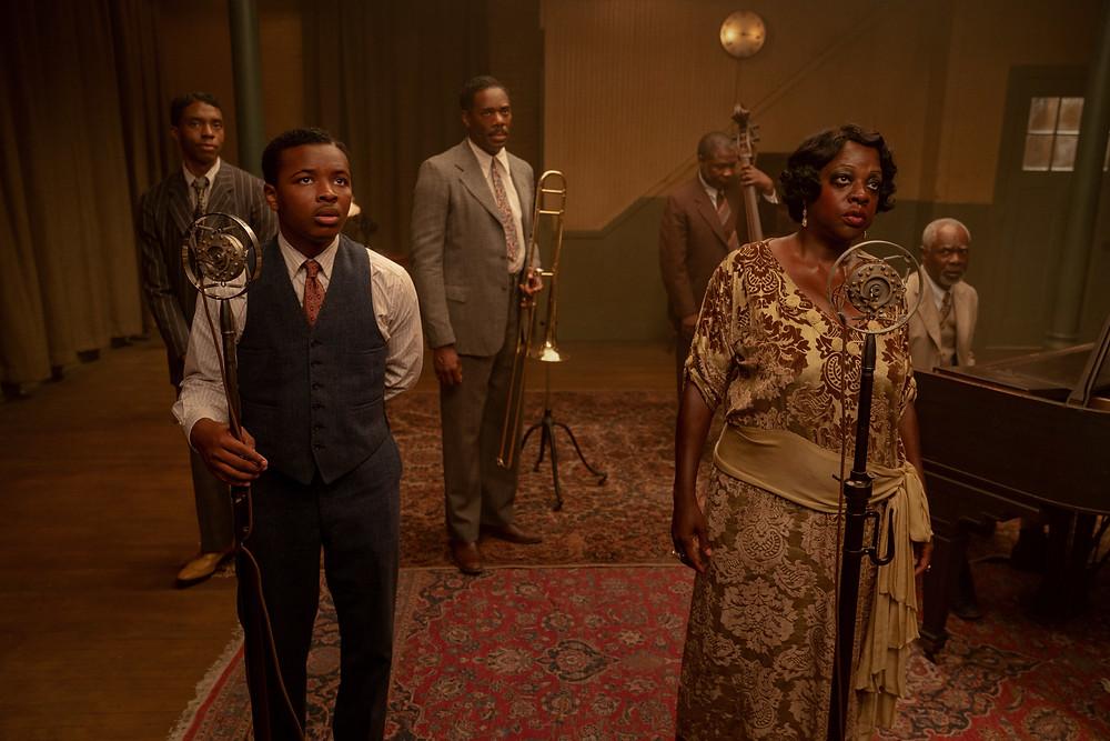 Chadwick Boseman, Dusan Brown, Colman Domingo, Michael Potts, Viola Davis and Glynn Turman in George C. Wolfe's Ma Rainey's Black Bottom