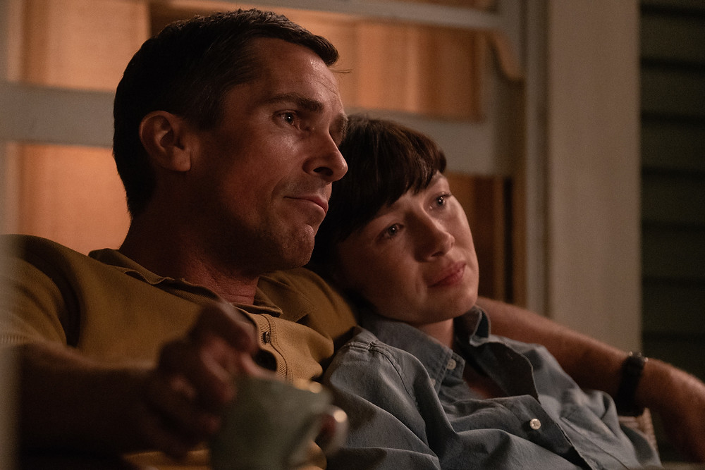 Christian Bale and Catriona Balfe in James Mangold's Ford v Ferrari