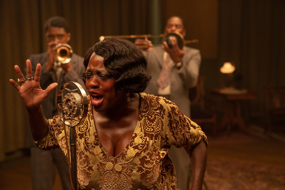Chadwick Boseman, Viola Davis and Colman Domingo in George C. Wolfe's Ma Rainey's Black Bottom
