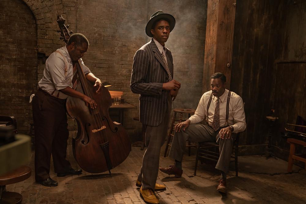 Michael Potts, Chadwick Boseman and Colman Domingo in George C. Wolfe's Ma Rainey's Black Bottom