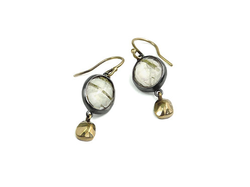 earring wabi nugget rutile quartz