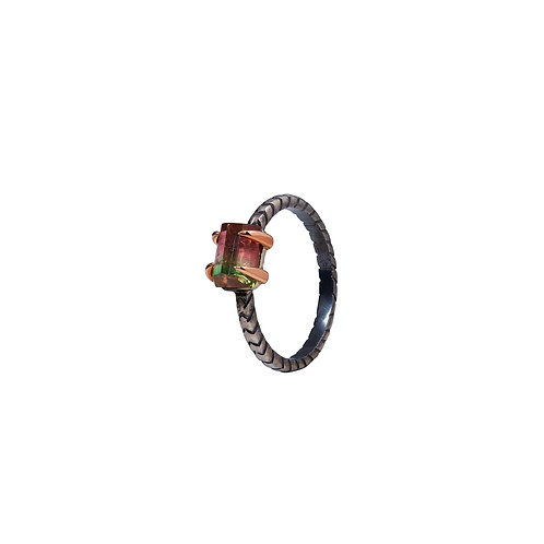 anillo cobra mini watermelon tourmaline