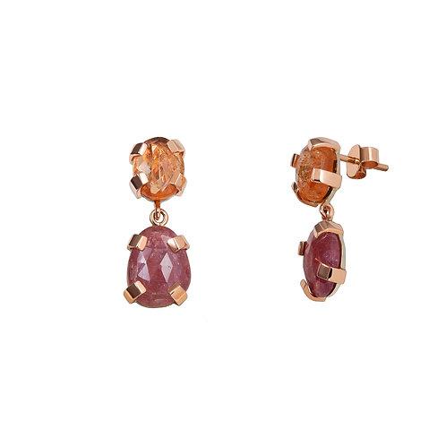 earring articulado grapas zafiro rosa