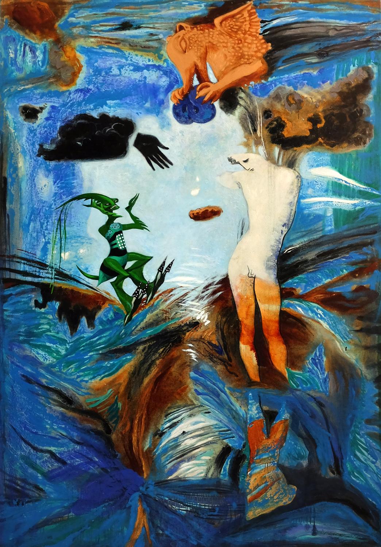 Battle of gods 200x140cm canvas oil 2015 s