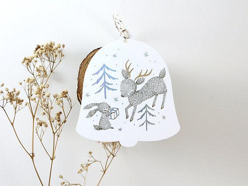Whimsy Whimsical | Gift Tags | Bell Shape | Reindeer & Rabbit