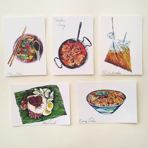Hsieying | Postcard Set | Malaysian Food