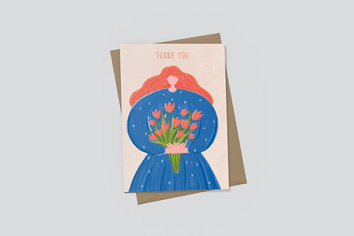 EJ Memento | Cards | Big Girl with a Bouquet of Flowers