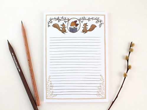 Whimsy Whimsical |  Notepad | Fox & Dancing Squirrels