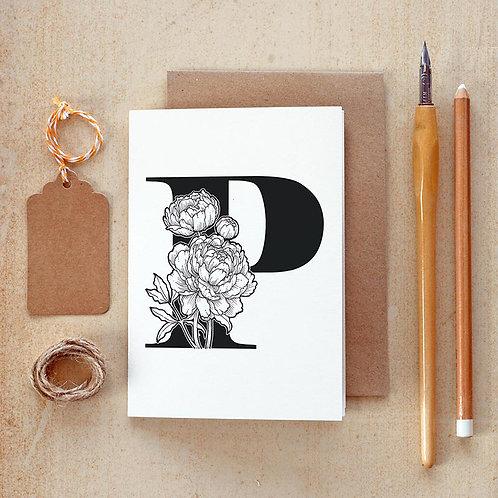 Salt x Paper | Greeting Card | The Alphabet Blossom Series | P