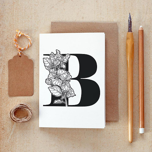 Salt x Paper | Greeting Card | The Alphabet Blossom Series | B