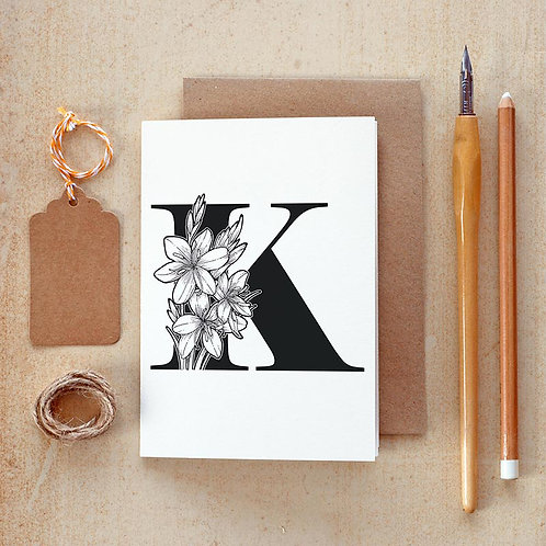 Salt x Paper | Greeting Card | The Alphabet Blossom Series | K