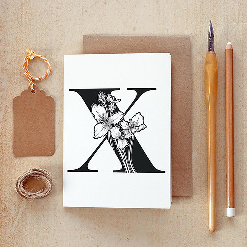 Salt x Paper | Greeting Card | The Alphabet Blossom Series | X