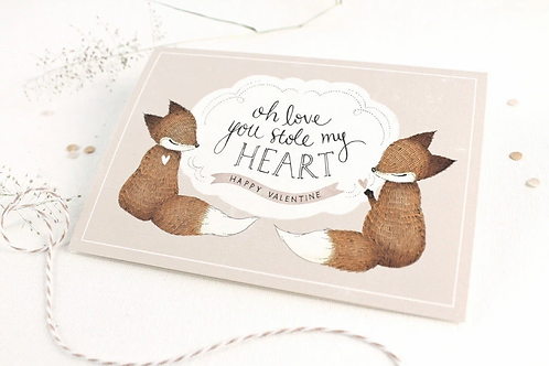 Whimsy Whimsical | Greeting Card | Oh Love, You Stole My Heart | Happy Valentine