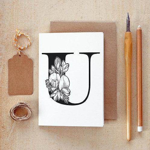 Salt x Paper | Greeting Card | The Alphabet Blossom Series | U