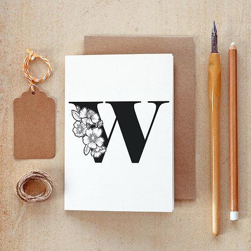 Salt x Paper | Greeting Card | The Alphabet Blossom Series | W