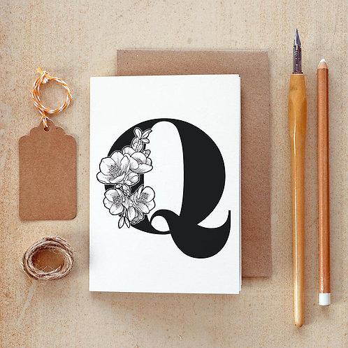 Salt x Paper | Greeting Card | The Alphabet Blossom Series | Q